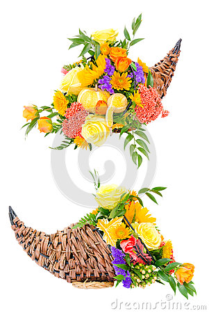 Thanksgiving flower arrangement in cornucopia
