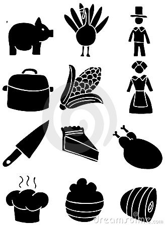 Thanksgiving Icons - black and white
