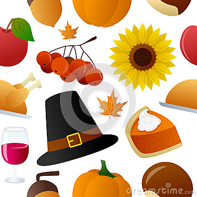 Thanksgiving Icons Seamless Pattern