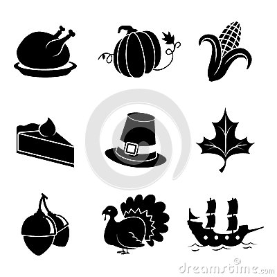 Thanksgiving Icons Vector Illustration