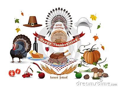 Thanksgiving icons set Vector Illustration