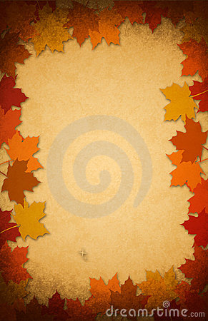 Thanksgiving leaves on an old paper background