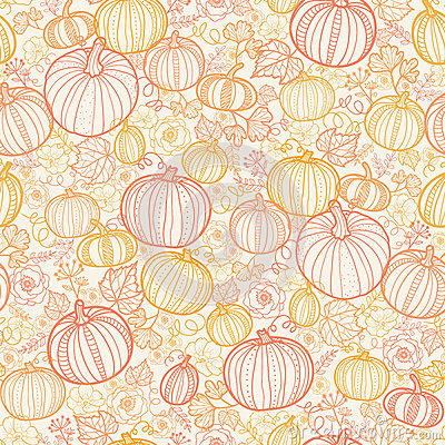 Free Thanksgiving Line Art Pumkins Seamless Pattern Stock Photo - 32750730