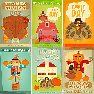 Free Thanksgiving Posters Set Royalty Free Stock Images - 77919889