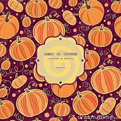 Thanksgiving pumpkins frame seamless pattern