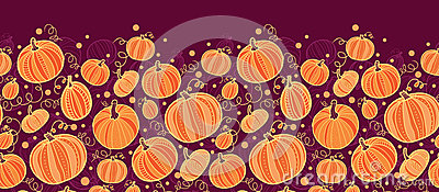 Thanksgiving pumpkins horizontal border seamless