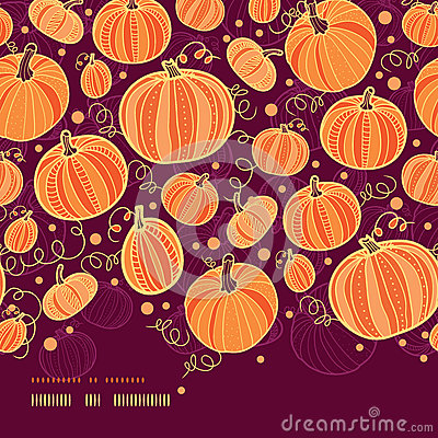Thanksgiving pumpkins horizontal border seamless