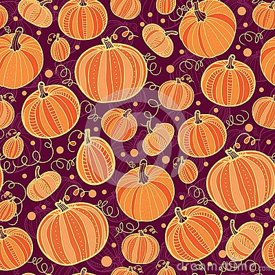 Thanksgiving pumpkins seamless pattern background