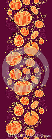 Thanksgiving pumpkins vertical border seamless
