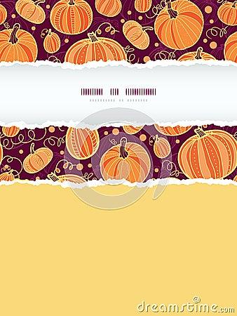 Thanksgiving pumpkins vertical torn frame seamless