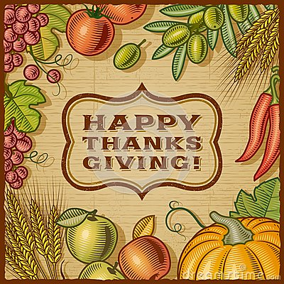 Free Thanksgiving Retro Card Royalty Free Stock Photography - 26880297