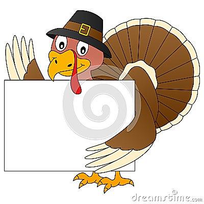 Thanksgiving Turkey and Banner Vector Illustration