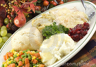 Thanksgiving Turkey Dinner on Platter