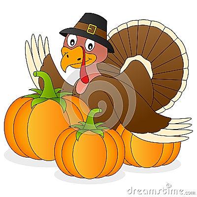 Thanksgiving Turkey and Pumpkins