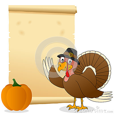 Thanksgiving Turkey and Scroll Vector Illustration