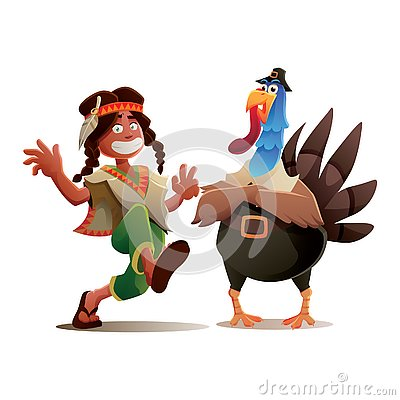 Thanksgiving Turkey and Indian Tribe Boy Character Design Stock Photo