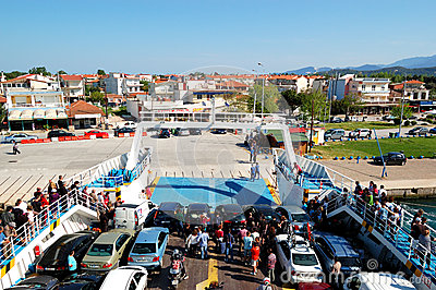 The Thassos ferry going to Thassos island Editorial Photography
