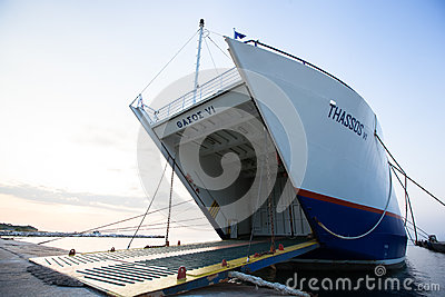 Thassos ferry  on June 28, 2013 in Limenas, Greece. Editorial Image
