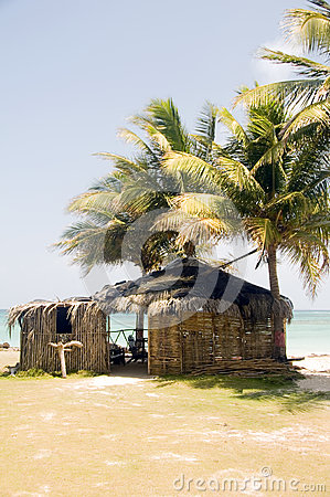 Thatch roof bamboo  beach restaurant bar Big Corn Island Nicarag