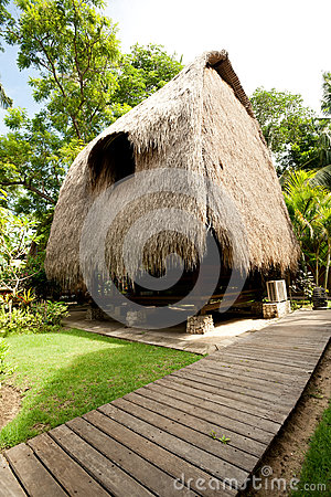 Thatch roof bungalow at tropical resort