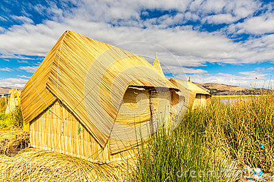 Thatched home on Floating  Islands on Lake Titicaca Puno, Peru, South America. Dense root that plants Khili