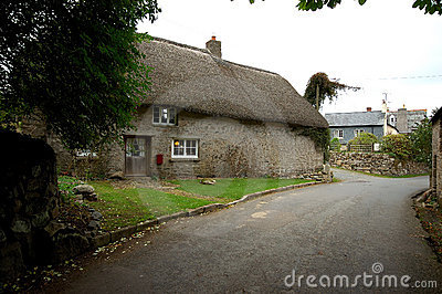 Thatched roof on cottage.