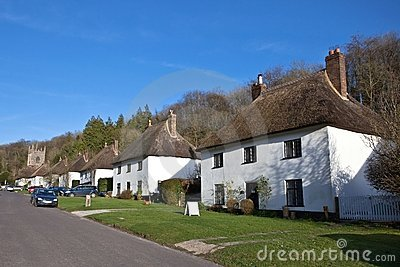 Thatched roof houses in English village