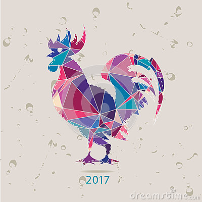 Free The 2017 New Year Card With Rooster Stock Image - 54717391