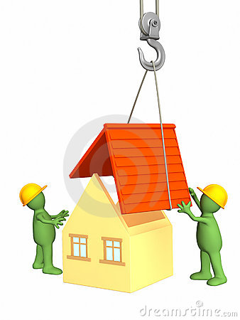 Free The 3d Working Puppets Building The House Stock Images - 4356944