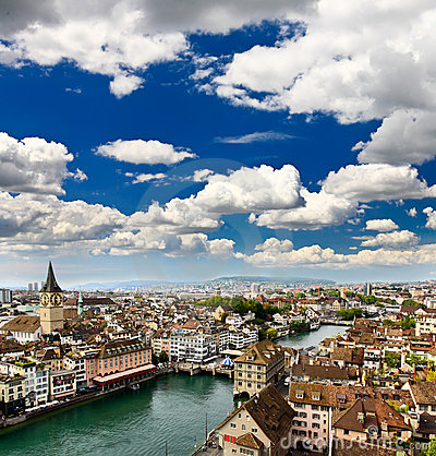 Free The Aerial View Of Zurich City Royalty Free Stock Photo - 9238755