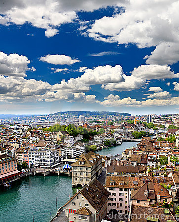 Free The Aerial View Of Zurich City Stock Photography - 9238762
