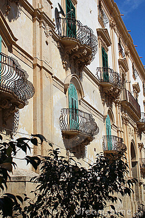 Free The Baroque Facade Of A House In Noto In Sicily Stock Photography - 21250742