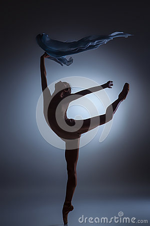 Free The Beautiful Ballerina Dancing With Blue Veil Royalty Free Stock Image - 60046166