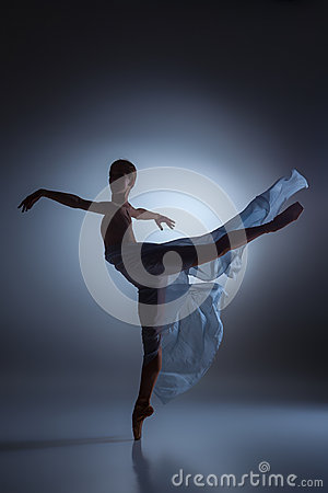 Free The Beautiful Ballerina Dancing With Blue Veil Royalty Free Stock Photo - 60046215