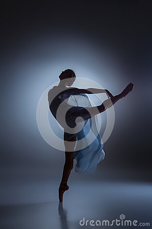 Free The Beautiful Ballerina Dancing With Blue Veil Royalty Free Stock Photography - 60046237