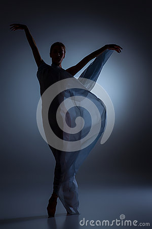 Free The Beautiful Ballerina Dancing With Blue Veil Stock Photos - 60046933