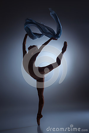 Free The Beautiful Ballerina Dancing With Blue Veil Stock Image - 60046981