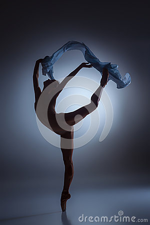 Free The Beautiful Ballerina Dancing With Blue Veil Stock Photo - 60046990