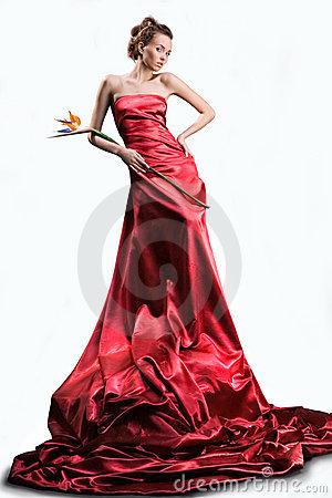 Free The Beautiful Girl In A Long Red Dress Stock Images - 4009804