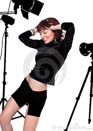 Free The Beautiful Girl In A Photographic Studio Stock Image - 3856991