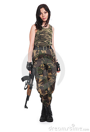 Free The Beautiful Girl With A Automatic Rifle Royalty Free Stock Photo - 4539065