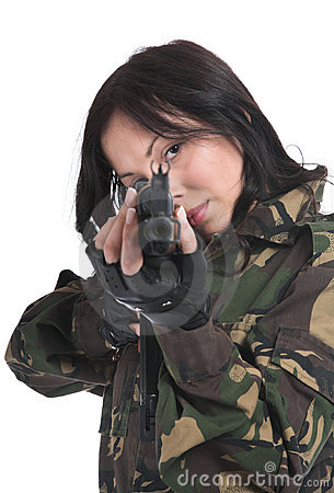 Free The Beautiful Girl With A Automatic Rifle Stock Image - 5487041