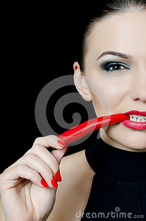 Free The Beautiful Girl With Pepper Chili Stock Photos - 25089953