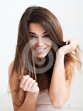 Free The Beautiful Laughing Girl With Long Hair Stock Image - 51250071