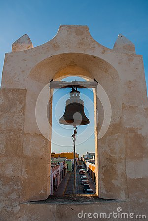 Free The Bell On The Guard Tower In San Francisco De Campeche, Mexico. View From The Fortress Walls Royalty Free Stock Image - 114360366