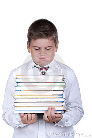 Free The Boy With Books Royalty Free Stock Images - 11030089