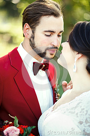 Free The Bride And Groom Closeup, Before Kiss, Outdoor, Tenderness, Passion. Wedding Style Marsala, Vertical Portrait. Royalty Free Stock Photography - 66749817