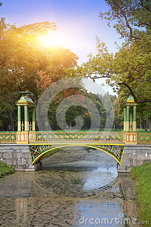 Free The Bridge Over The Channel Overgrown With A Duckweed. Catherine Park. Pushkin Tsarskoye Selo. Petersburg Royalty Free Stock Photo - 93537345