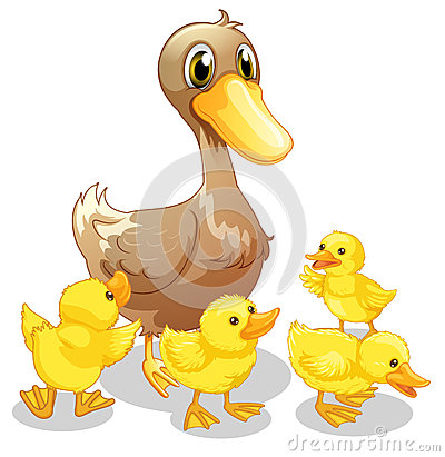 Free The Brown Duck And Her Four Yellow Ducklings Royalty Free Stock Images - 33691939