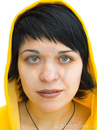 Free The Brunette In A Yellow Hood Royalty Free Stock Photography - 450927